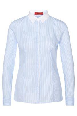 Gestreifte Hemdbluse aus elastischem Baumwoll-Mix: 'Etrina', Hellblau