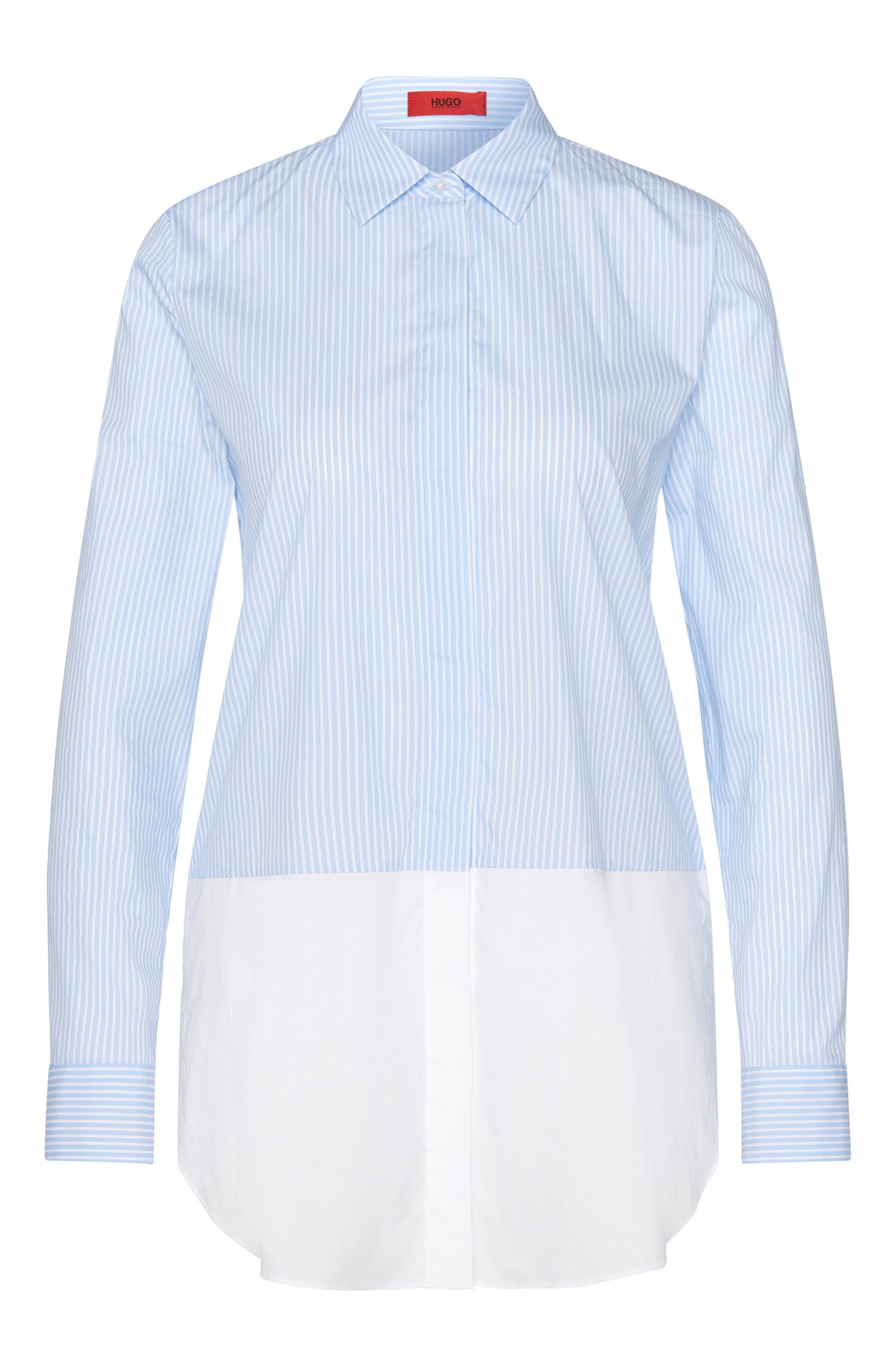Striped layered-look blouse in stretchy cotton blend: 'Efibia'