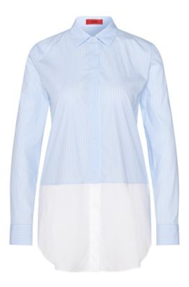 Striped layered-look blouse in stretchy cotton blend: 'Efibia', Light Blue