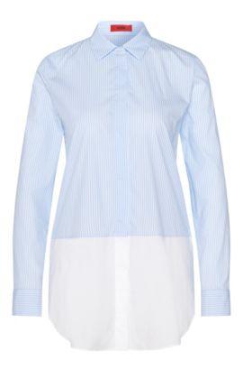 Blusa a rayas en mezcla de algodón elástico con look a capas: 'Efibia', Celeste