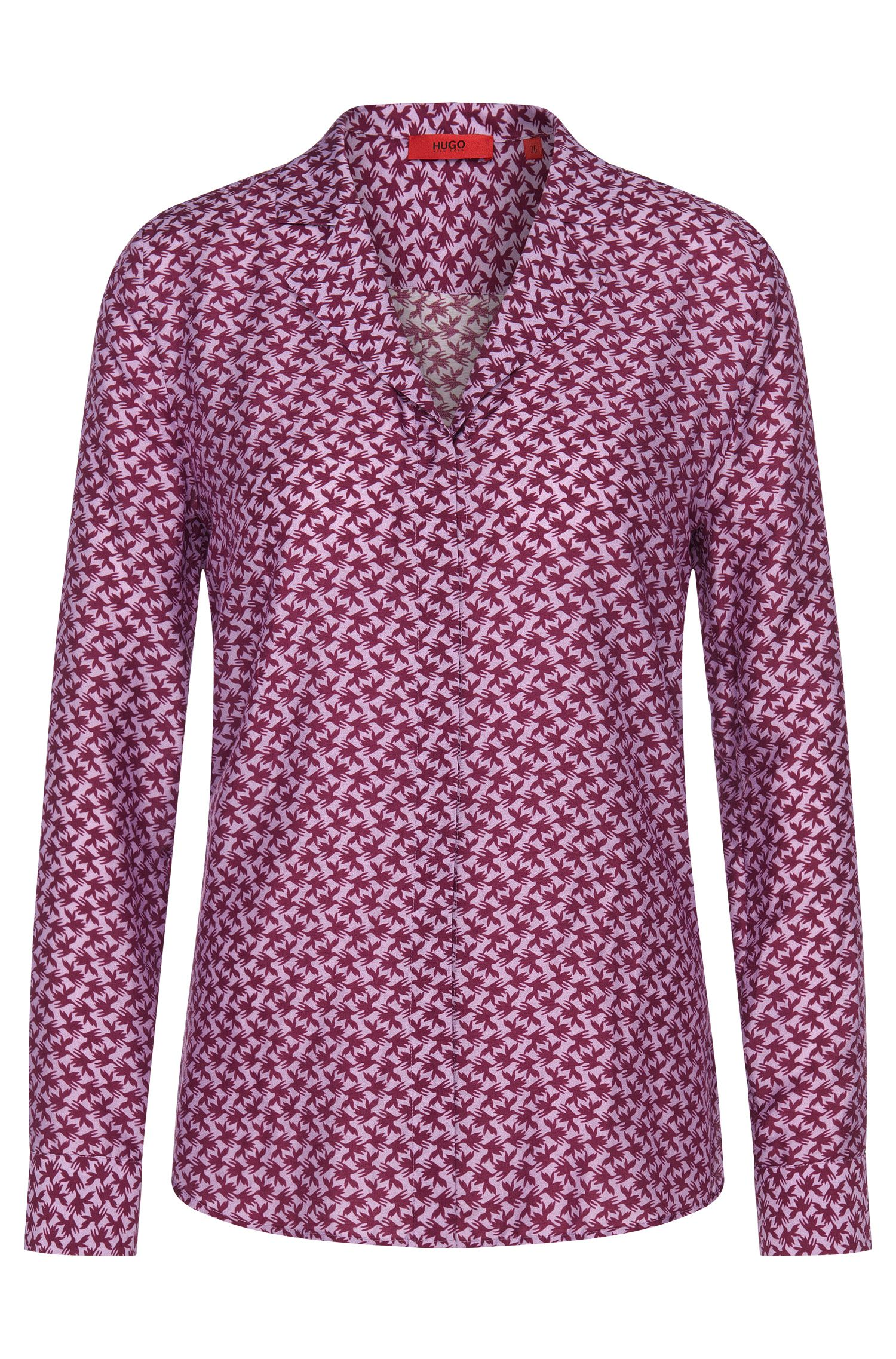 Patterned blouse in viscose blend with silk: 'Emalyn'
