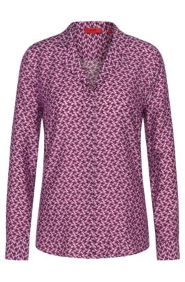 Patterned blouse in viscose blend with silk: 'Emalyn', Patterned