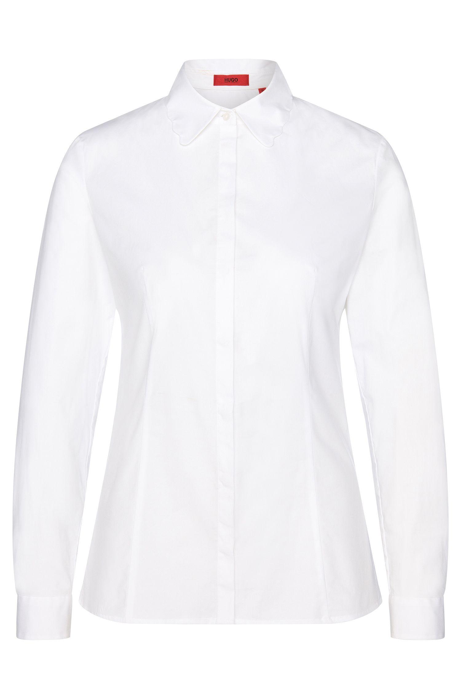 Getailleerde blouse van stretchkatoen met golvende kraag: 'Etrina'
