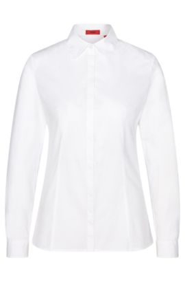 Fitted blouse in stretch cotton with wavy collar: 'Etrina', Open White