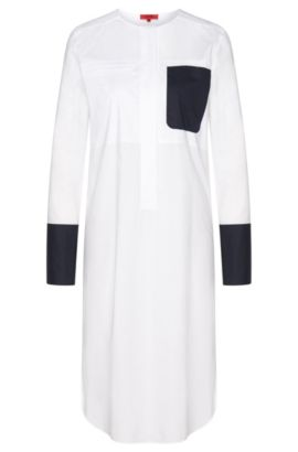 Long blouse with concealed button placket: 'Eylor', Open White