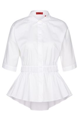 Blouse in stretch cotton with flared hem: 'Ezoell', Open White