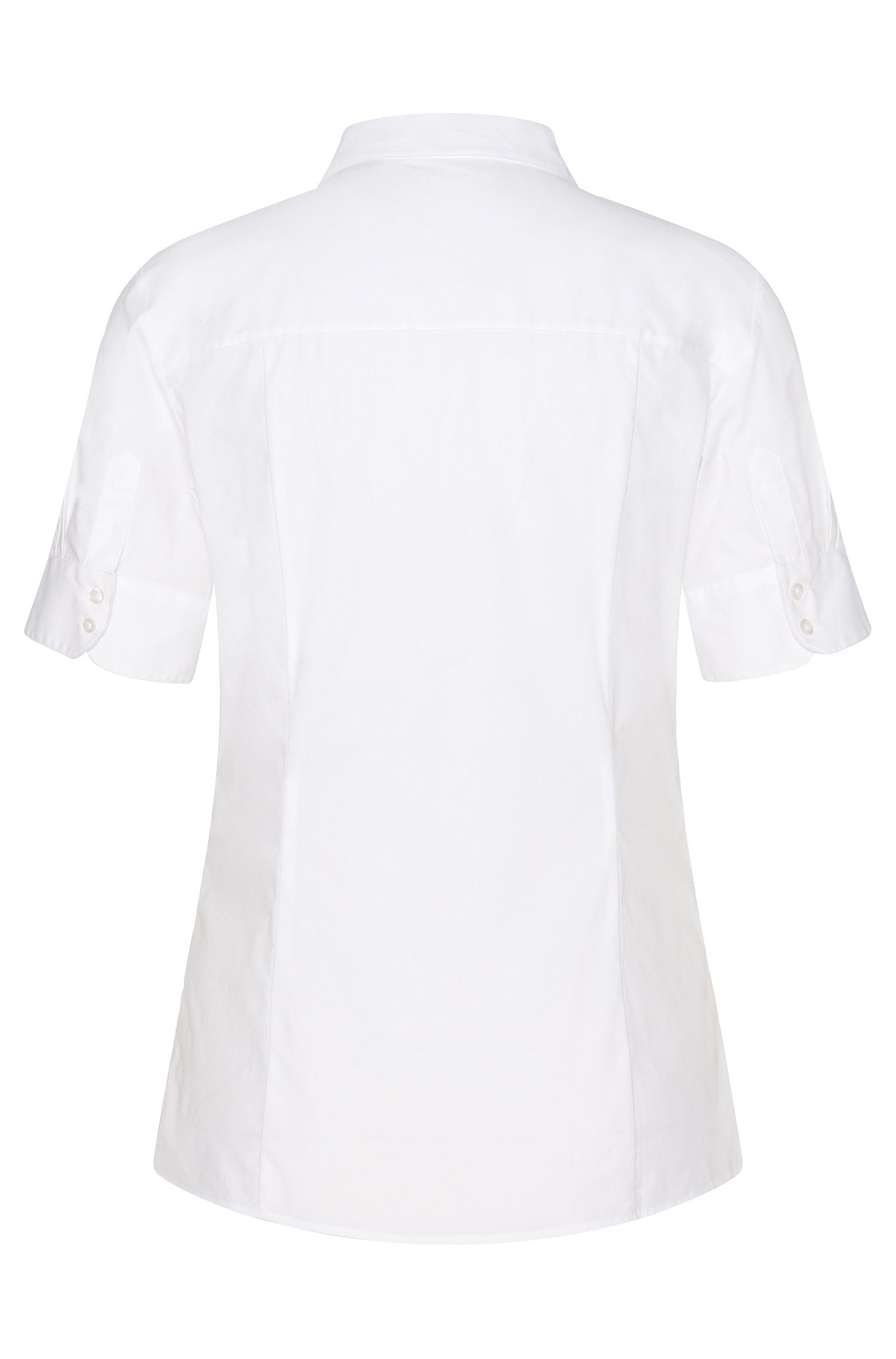 Fitted short-sleeved blouse in stretchy cotton: 'Eshine', White