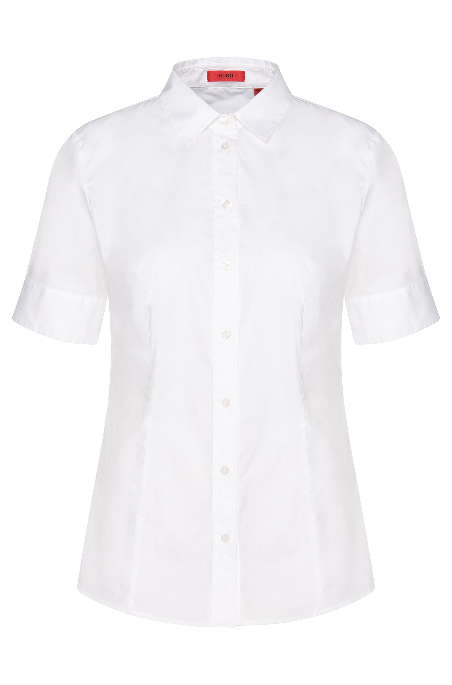 Getailleerde blouse van elastische katoen met korte mouwen: 'Eshine'