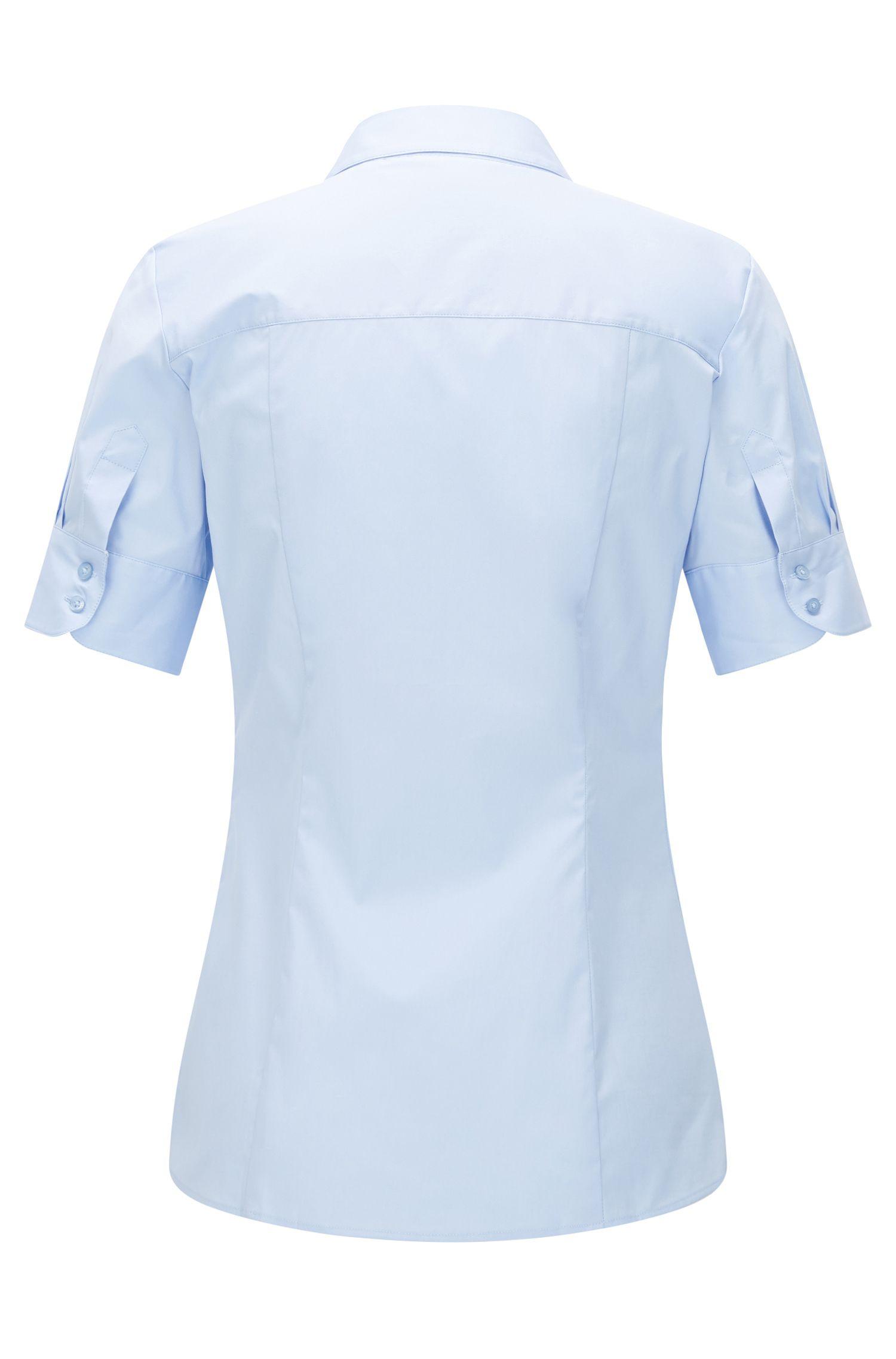 Taillierte Kurzarm-Bluse aus elastischer Baumwolle: 'Eshine'