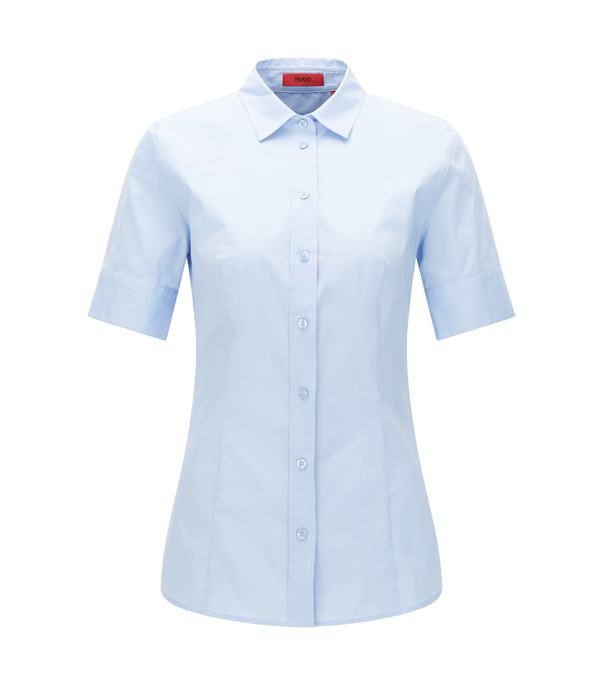 Fitted short-sleeved blouse in stretchy cotton: 'Eshine', Light Blue