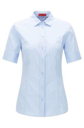 Camicia avvitata, con maniche corte, in cotone elasticizzato: 'Eshine', Celeste