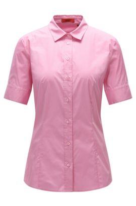 Taillierte Kurzarm-Bluse aus elastischer Baumwolle: 'Eshine', Pink