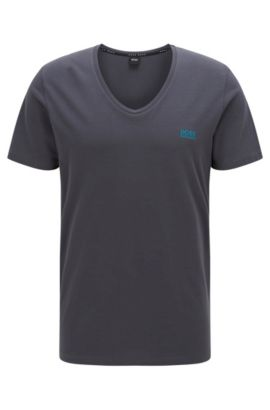Regular-Fit Loungewear T-Shirt aus Stretch-Baumwolle, Dunkelgrau