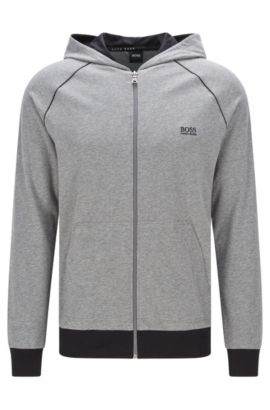 Regular-fit sweatvest van stretchkatoen met capuchon: 'Jacket Hooded', Grijs