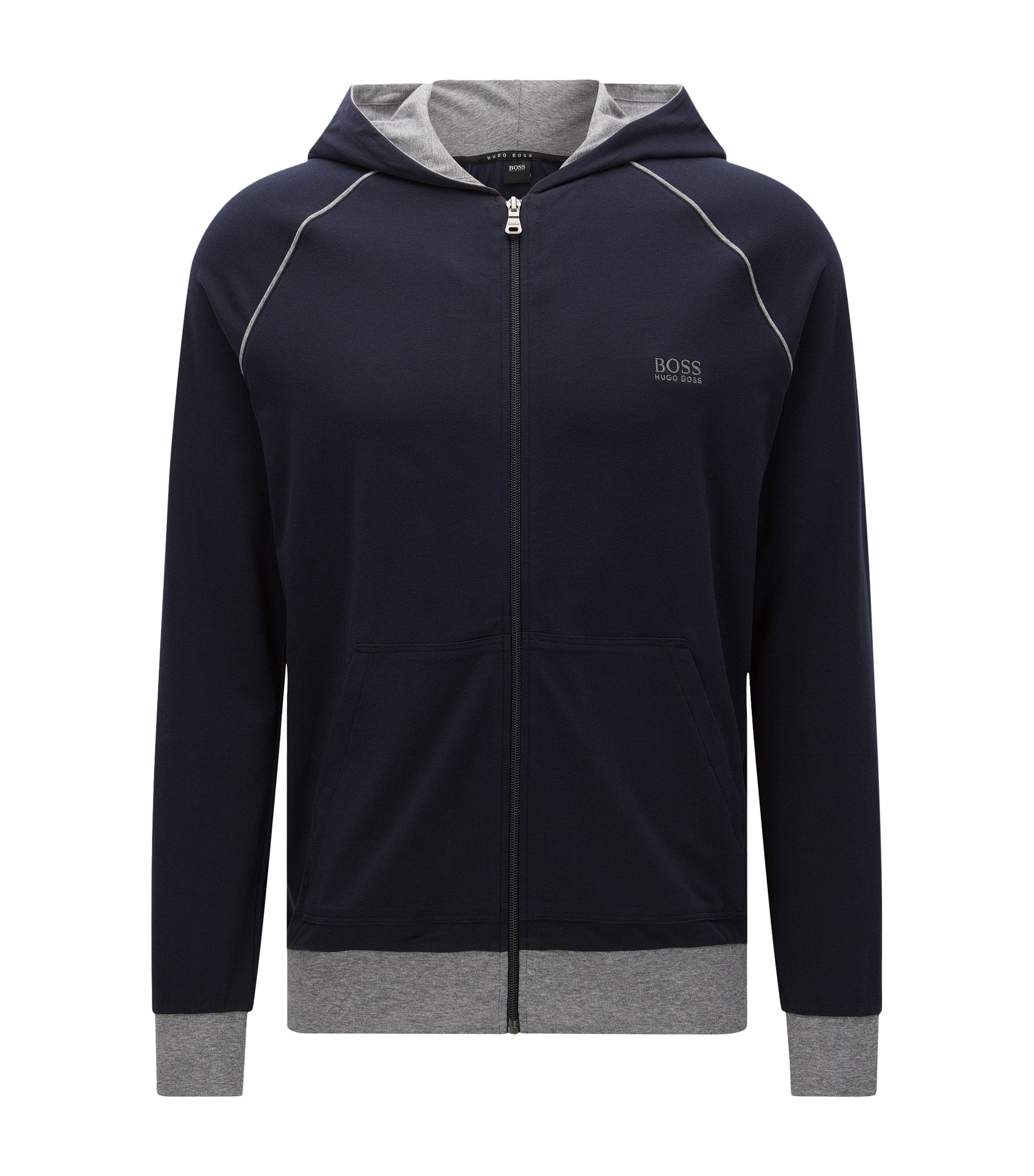 Blouson sweat Regular Fit en coton stretch à capuche : « Jacket Hooded », Bleu foncé