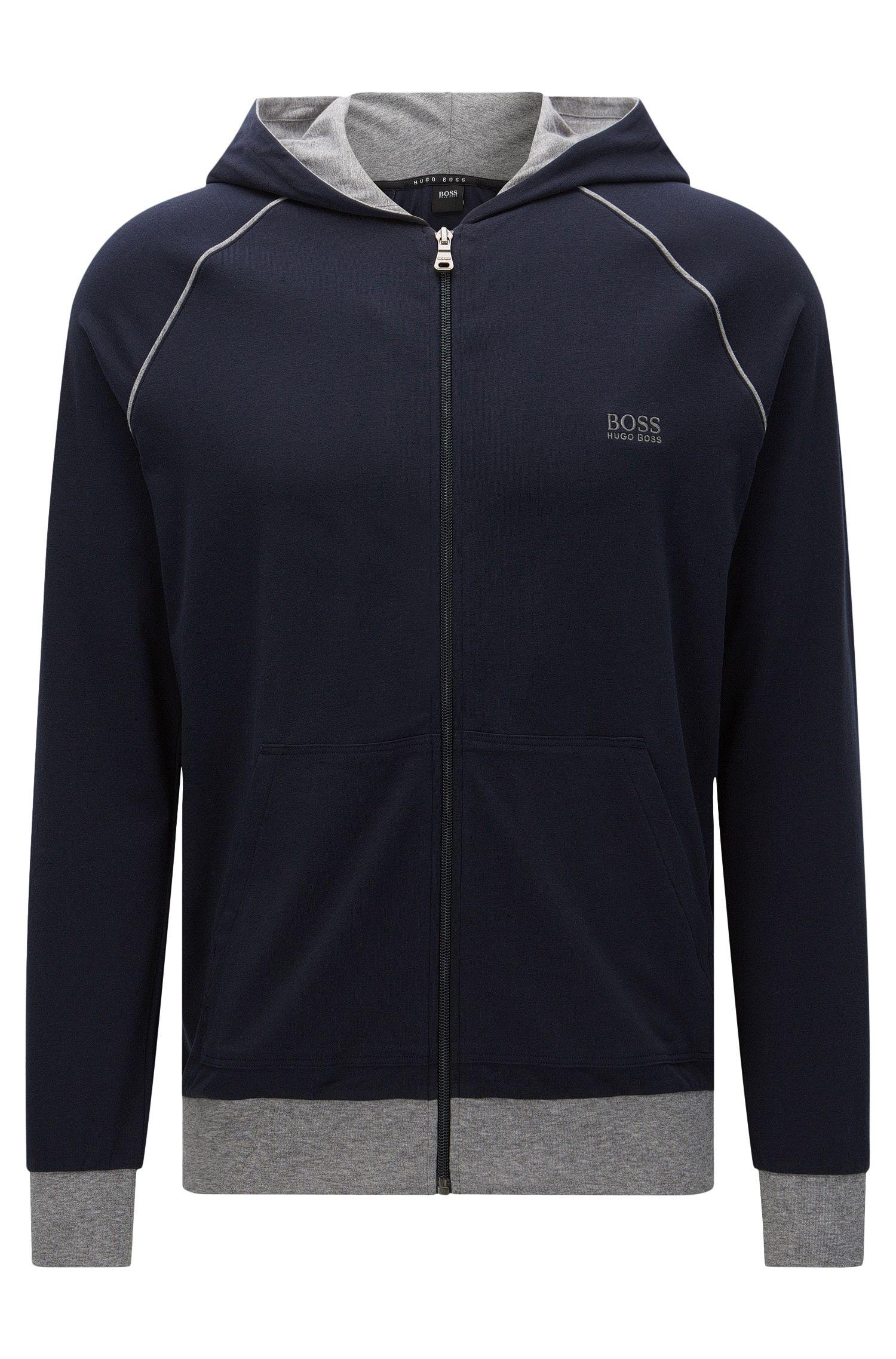 Regular-Fit Sweatshirt-Jacke aus Stretch-Baumwolle mit Kapuze: 'Jacket Hooded'