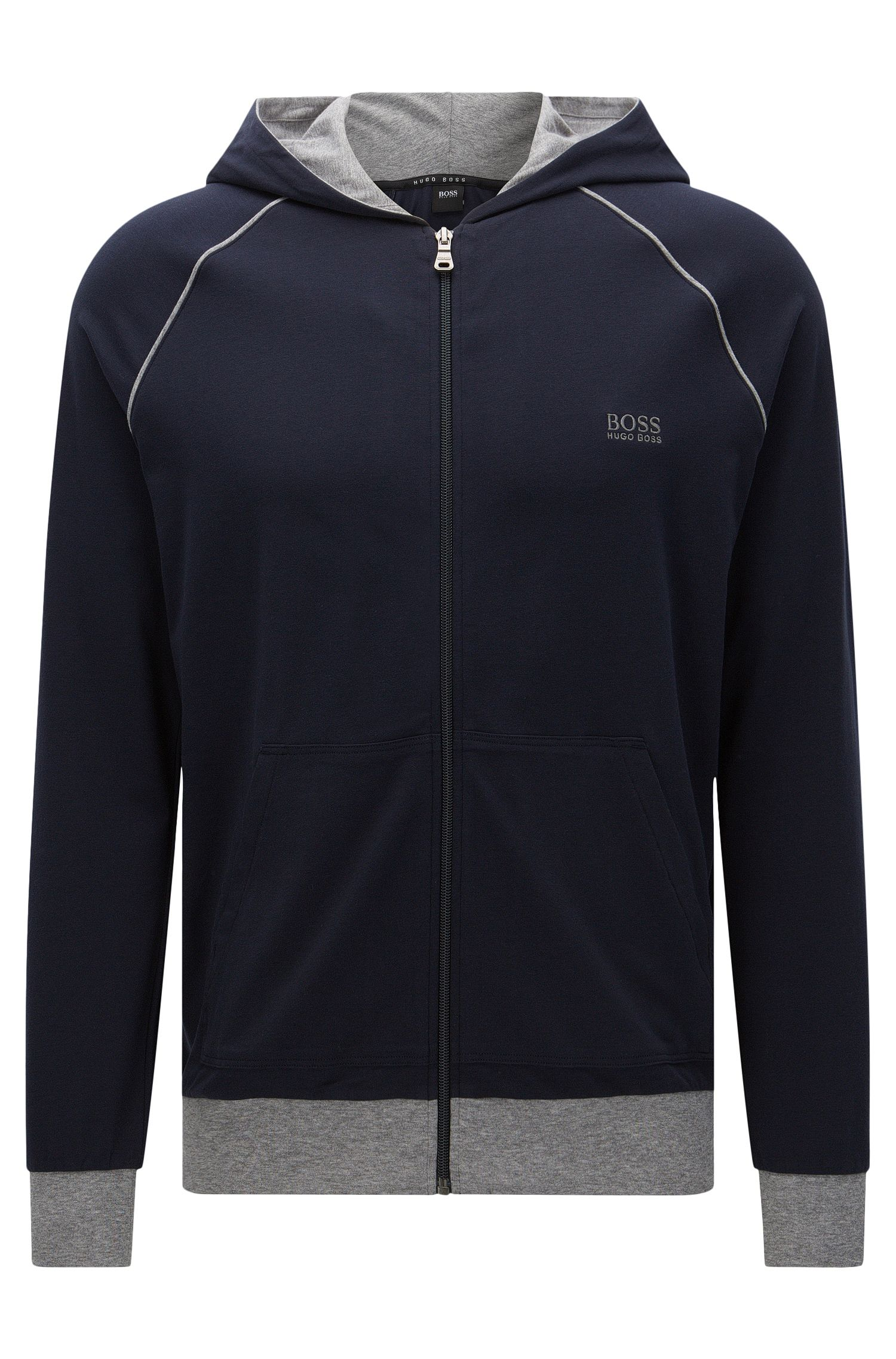 Regular-Fit Sweatshirt-Jacke aus Stretch-Baumwolle mit Kapuze: 'Jacket Hooded'