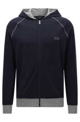 Regular-Fit Sweatshirt-Jacke aus Stretch-Baumwolle mit Kapuze: 'Jacket Hooded', Dunkelblau