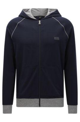 Blouson sweat Regular Fit en coton stretch à capuche: «Jacket Hooded», Bleu foncé
