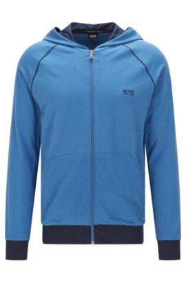 Blouson sweat Regular Fit en coton stretch à capuche: «Jacket Hooded», Bleu