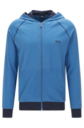 Regular-Fit Sweatshirt-Jacke aus Stretch-Baumwolle mit Kapuze: 'Jacket Hooded', Blau