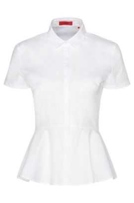 Short-sleeved blouse in stretch cotton with peplum: 'Efany', Open White