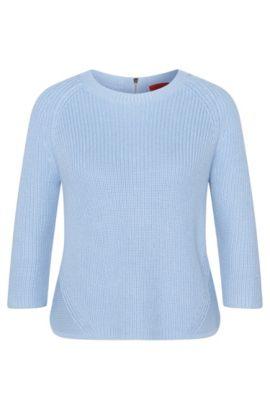 Maglione in cotone con zip posteriore: 'Sirina', Celeste