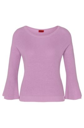 Cotton sweater with trumpet sleeves: 'Stephanie', Light Purple