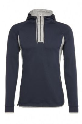 Sweat Regular Fit en coton à capuche : « Sanvar », Bleu foncé