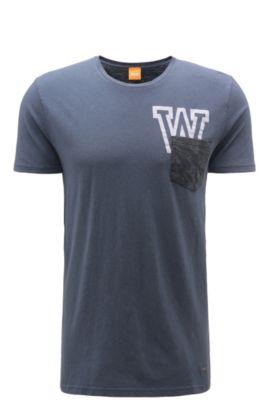 Camiseta relaxed fit en mezcla de algodón con lino: 'Touchback 3', Azul oscuro