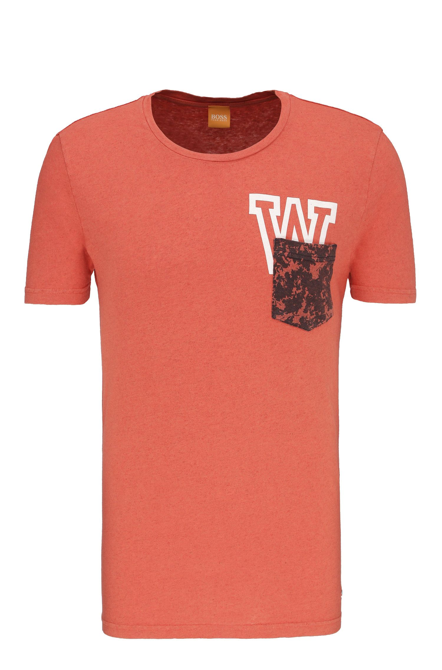 Relaxed-Fit T-Shirt aus Baumwoll-Mix mit Leinen: ´Touchback 3`