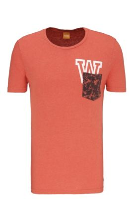 Relaxed-fit T-shirt in cotton blend with linen: 'Touchback 3', Red