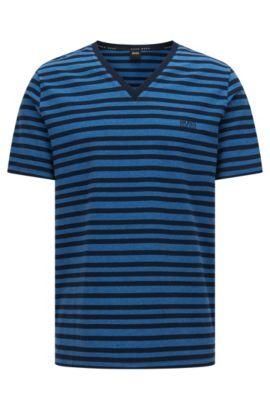 Gestreiftes T-Shirt aus Stretch-Baumwolle: 'T-Shirt VN', Dunkelblau
