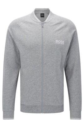 Giacca in felpa in cotone con maniche raglan: 'College Jacket Zip', Grigio