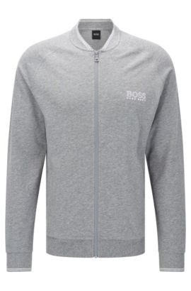 Cotton sweatshirt jacket with raglan sleeves: 'College Jacket Zip', Grey