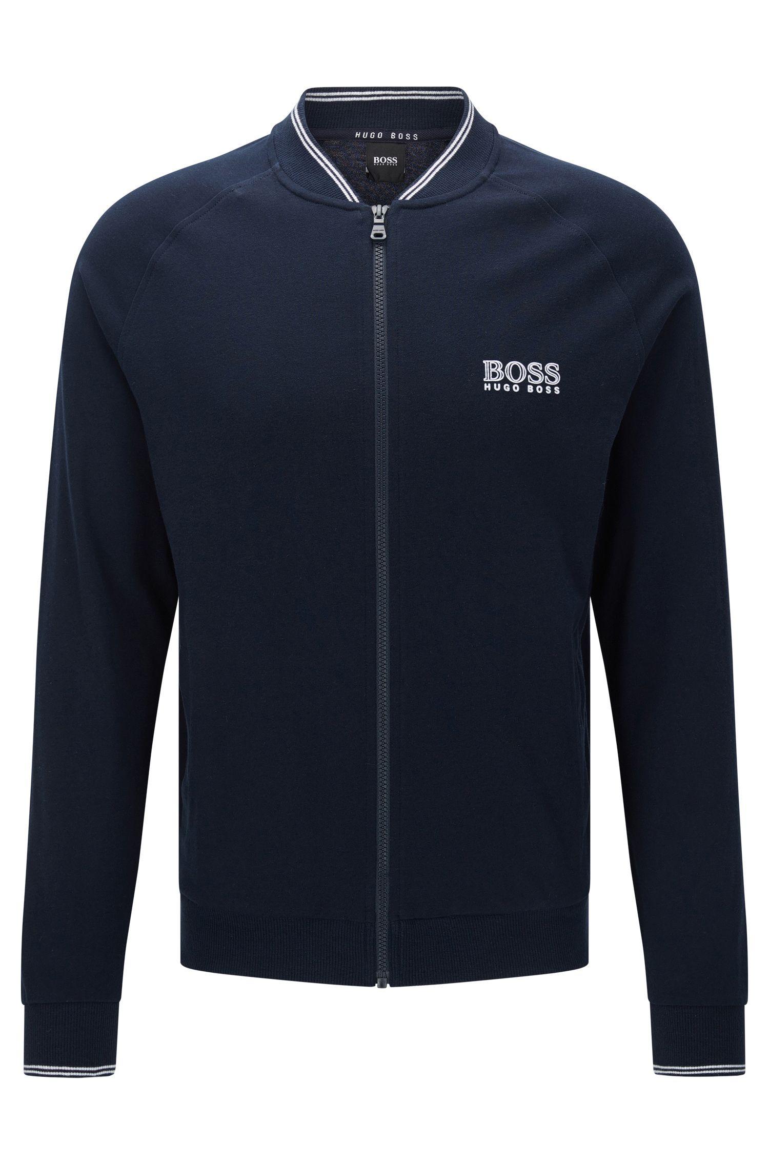 Blouson molletonné en coton à manches raglan: «College Jacket Zip»