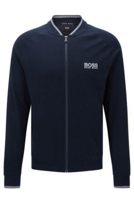 Blouson molletonné en coton à manches raglan: «College Jacket Zip», Bleu foncé