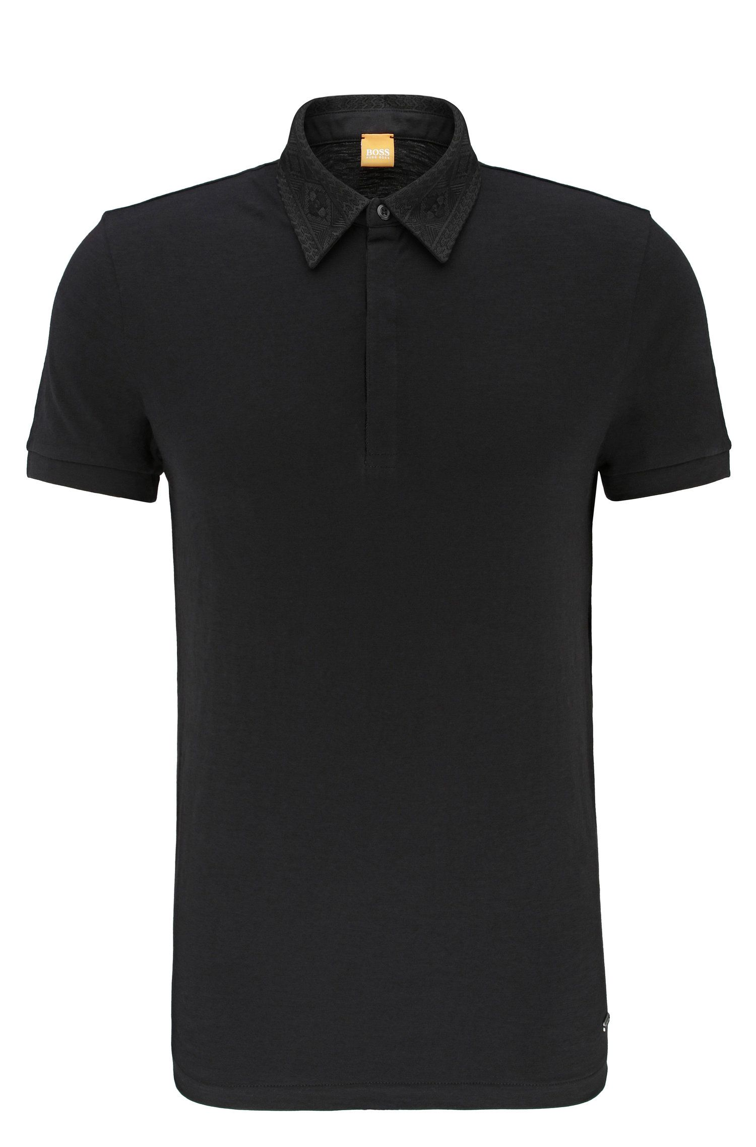 Relaxed-fit polo shirt in cotton with embroidered collar: 'Poesy'