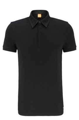 Relaxed-fit polo shirt in cotton with embroidered collar: 'Poesy', Black