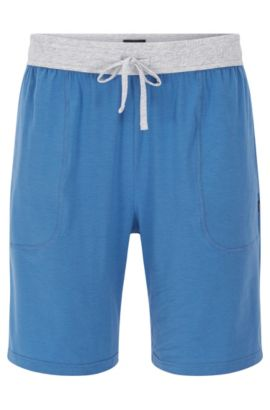 Short pyjama bottoms in a stretchy cotton blend with modal: 'Short Pant CW', Blue
