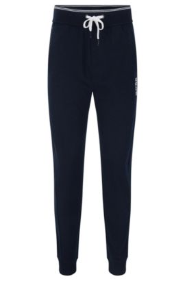 Tracksuit bottoms in cotton with ribbed cuffs: 'Long Pant Cuffs', Dark Blue