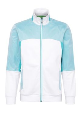 Regular-fit sweatshirt jacket in cotton with contrasting trim: 'Skavon', White