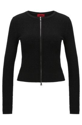 Fitted cardigan in viscose blend with textured pattern: 'Sonngard', Black