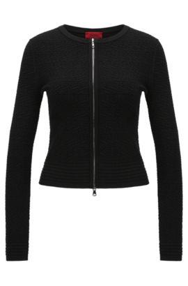 Taillierte Strickjacke aus Viskose-Mix mit Struktur-Muster: 'Sonngard', Schwarz