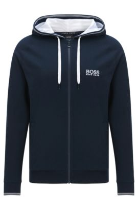 Sweatshirt-Jacke aus Baumwolle mit Kapuze: 'Jacket Hooded', Dunkelblau