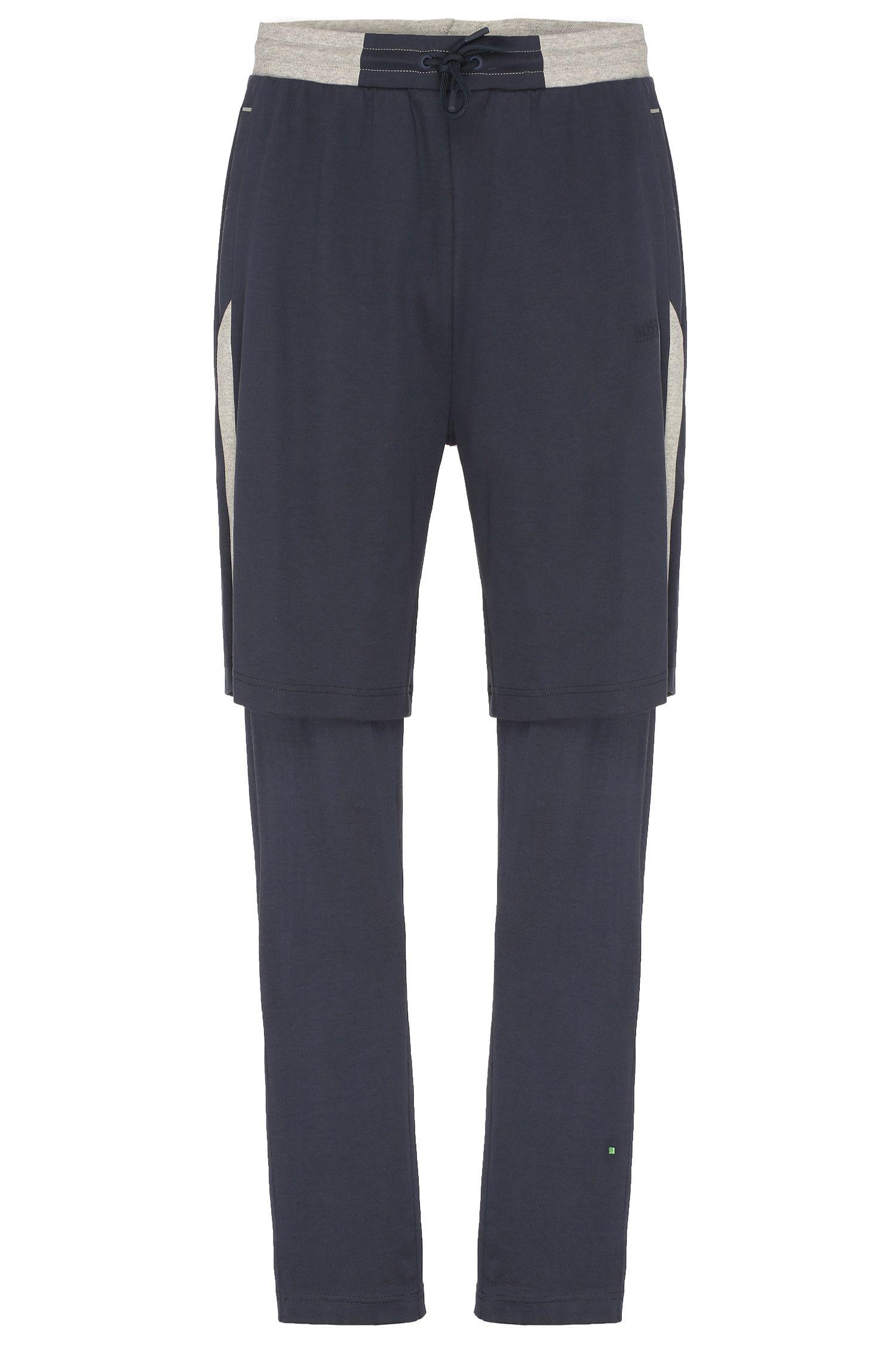 Short Regular Fit en molleton de coton, avec un pantalon intégré: «Halvar»