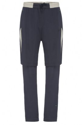 Regular-fit cotton sweat shorts with trousers stitched in: 'Halvar', Dark Blue