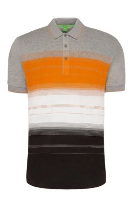 Regular-fit cotton polo shirt with stripes: 'Paddy 3', Light Grey