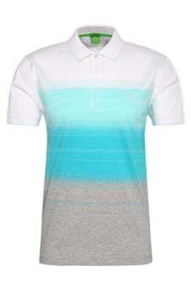 Regular-fit cotton polo shirt with stripes: 'Paddy 3', Open Blue