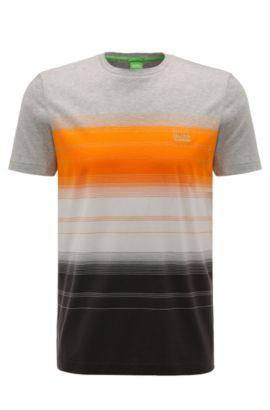 T-shirt Regular Fit en coton à motif rayé: «Tee12», Gris chiné